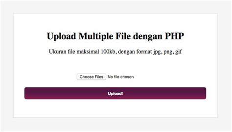 Satu Lembar Multiplek tutorial cara upload file dengan php jurnal web