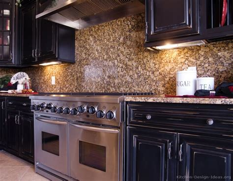 pictures kitchens traditional black kitchen cabinets backsplash ideas with dark