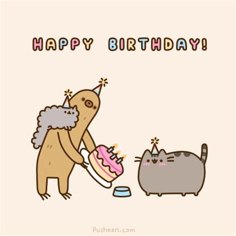 Pusheen Birthday Card Pin By B Dave Walters On Silly Stuff Pinterest