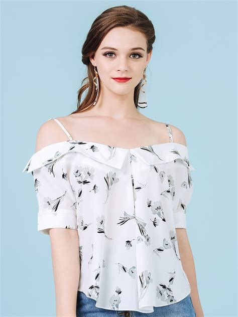 floral shoulder top bellenista