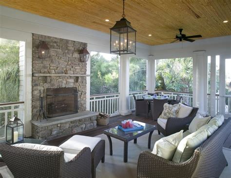 screened porch features outdoor fireplace traditional