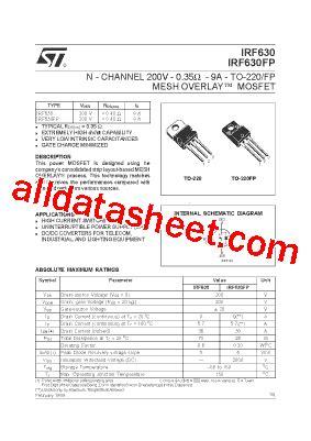 transistor mosfet irf630 irf630 datasheet pdf stmicroelectronics