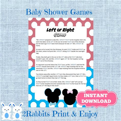 left right baby shower gender reveal left or right baby shower instant