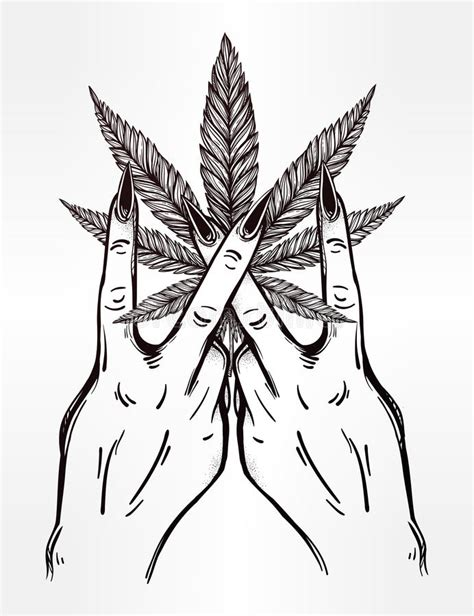 hand and fingers with marijuana leaf stock vector image