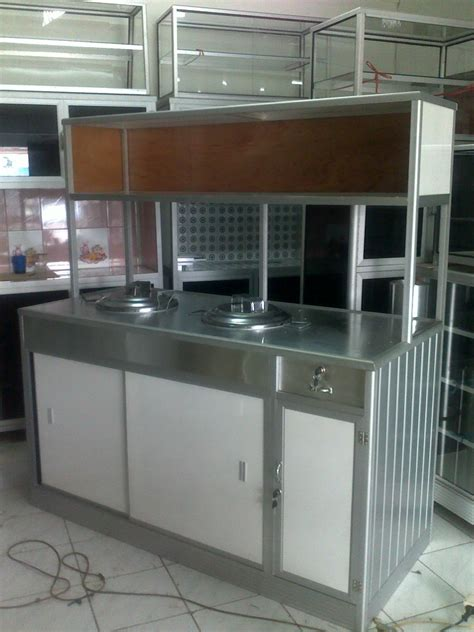 Lemari Dapur Gas penjualan etalase meja alumunium gerobak makanan rak piring rak besi pintu perkantoran