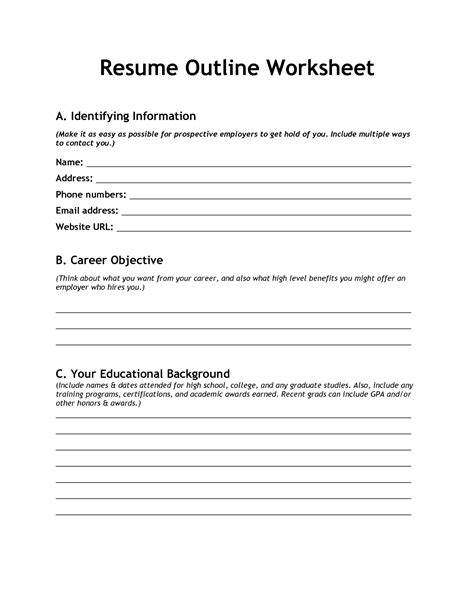 Resume Worksheet For High School Students by Resume Writing For High School Students Lesson Plan