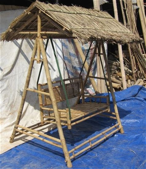 bamboo swings swing bench thatch roof