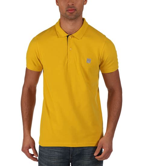 bench shirts for men bench crystalline plain regular fit polo shirt in yellow