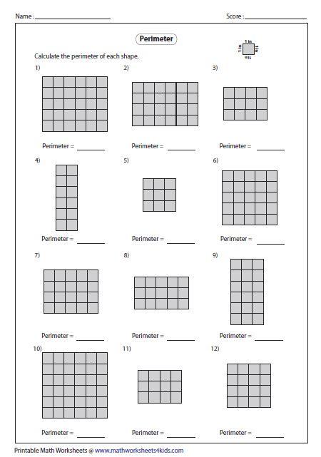 printable area paper perimeter worksheet new calendar template site
