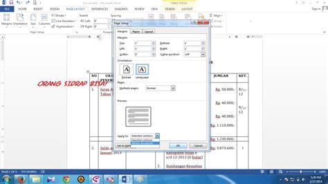 pengertian layout halaman halaman potrait dan landscape dalam satu file di word 2013