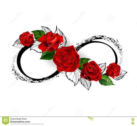 infinity symbol with a rose tattoo infinity symbol with roses stock vector illustration