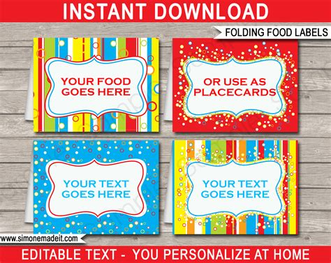 free template food cards colorful food labels place cards printable birthday