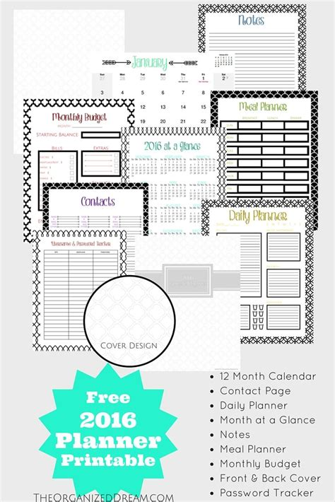 printable planner pages 2016 free printable 2016 planners calendars sparkles of