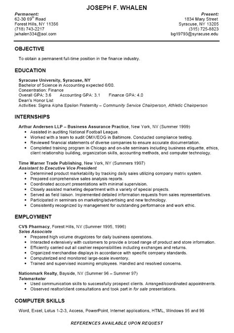 Resume Sles Internship College Students College Finance