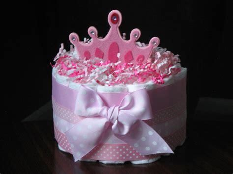 pink princess 1 tier diaper cake for baby by
