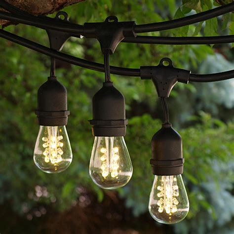 Led Outdoor Patio String Lights 100 Black Commercial Grade Medium String Lights With Suspenders And Led S14 Pre Contemporary