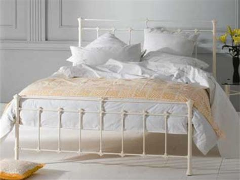 metal headboards for double bed obc edwardian 5ft kingsize glossy ivory metal bed frame by