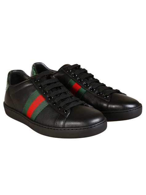 gucci sneakers black gucci leather sneakers in black lyst