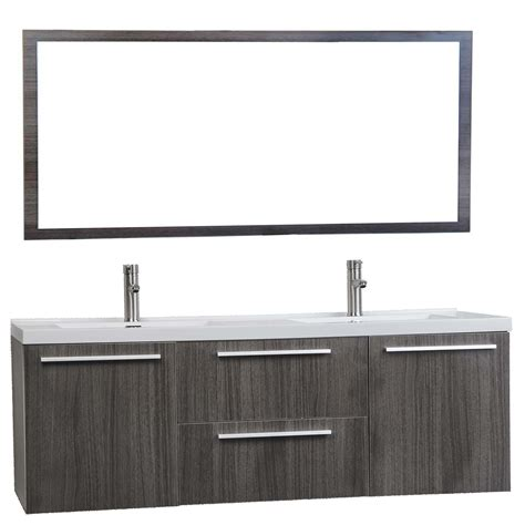 Modern Wall Mounted Bathroom Vanities Buy 59 Inch Wall Mounted Modern Vanity In Grey Oak Tn Nt1500d Go Conceptbaths