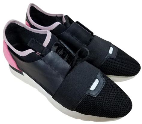 balenciaga black pink race runner leather mesh and neoprene sneakers size us 9 regular m b