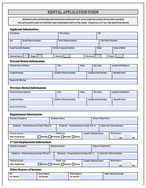 rental form template rental application form free printable documents
