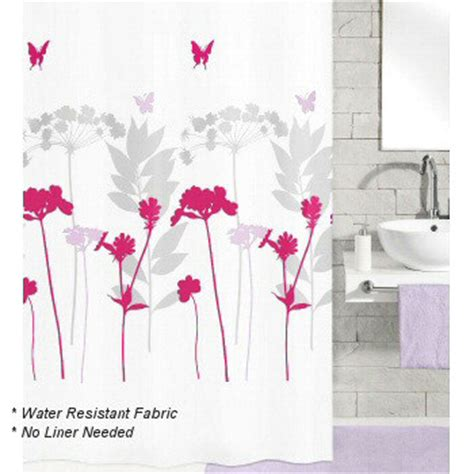 fabric shower curtain no liner needed luxury fabric shower curtain wild flower and butterfly