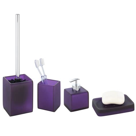 wenko ponti bathroom accessories set purple at
