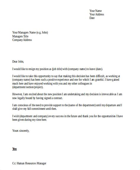 Resignation Letter Sle Not Happy Company 42 resignation letter template in doc free premium templates