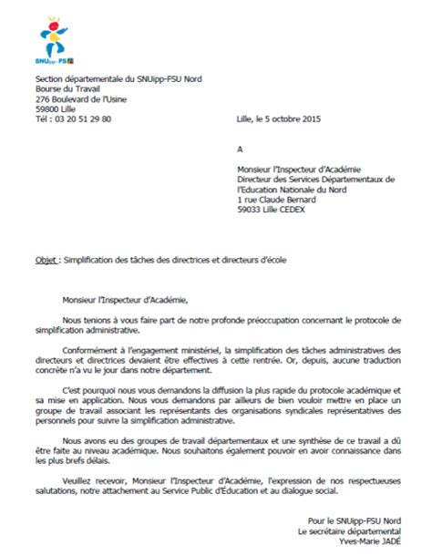 Exemple De Lettre Administrative Education Nationale Simplification Administrative Lettre Au Dasen Snuipp Fsu 59
