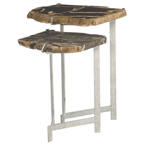 Nesting End Tables Sybil Industrial Loft Petrified Wood Nesting Side Tables Kathy Kuo Home