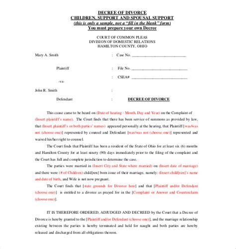 divorce decree template divorce agreement template 11 free word pdf documents