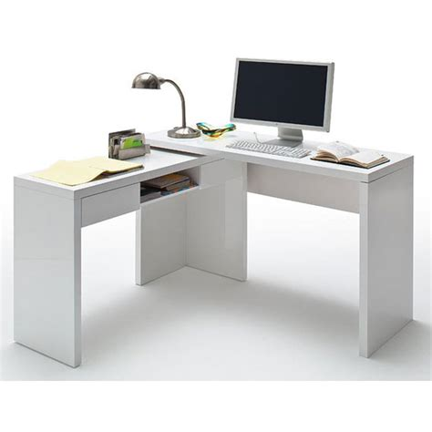 malte computer desk in high gloss with 2 drawer and shelf