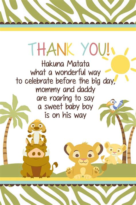 printable lion king thank you cards 123 best simba lion king baby shower invitation and