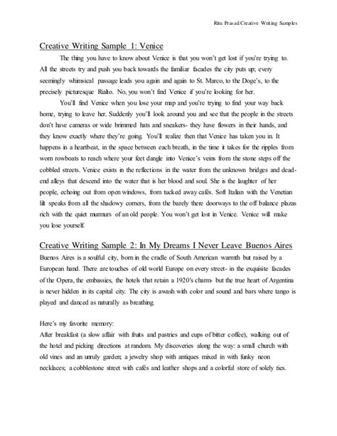 Creative Writing Essay Exles by Creative Writing Sles