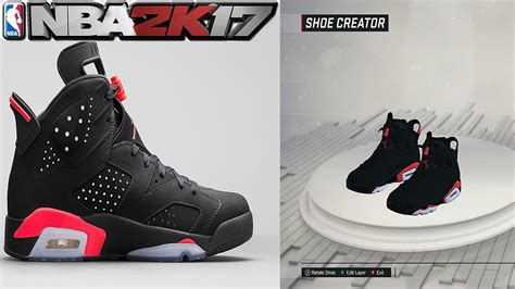shoe creator nba 2k17 shoe creator air 6 black infrared nba