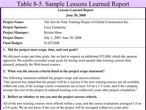 Lessons Learned Report Template Project Management Chapter 8 Closing Projects Ppt