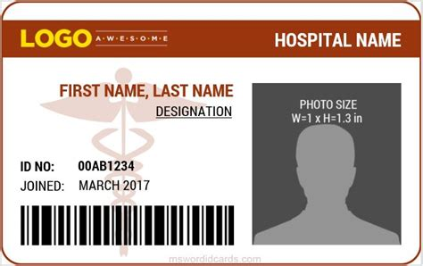 staff id badge template doctor id card templates ms word microsoft word id card