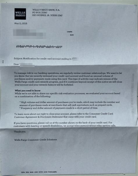 Credit Card Warning Letter Fargo Warns 5 Abusers Era Of 5x Comes To An End Doctor Of Credit