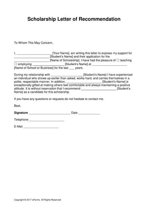 Free Scholarship Recommendation Letter Template With