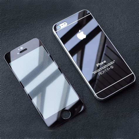 Tempered Glass Mirror Front Back Set Iphone 66s Silver front back colored mirror tempered glass screen protector for iphone 5 5s ebay