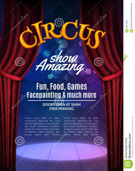 Circus Show Poster Template With Sign Festive Circus Invitation Vector Carnival Show Circus Poster Template Free