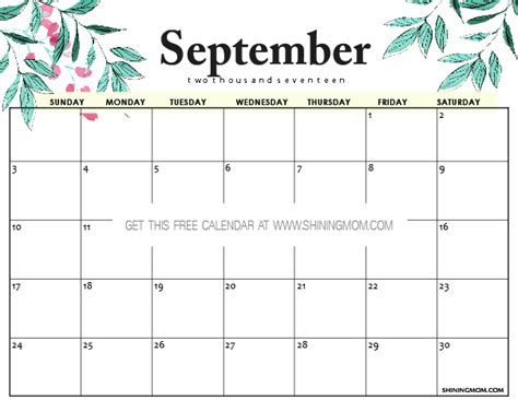Calendar 2017 September Printable Free Free Printable September 2017 Calendar 12 Beautiful Designs