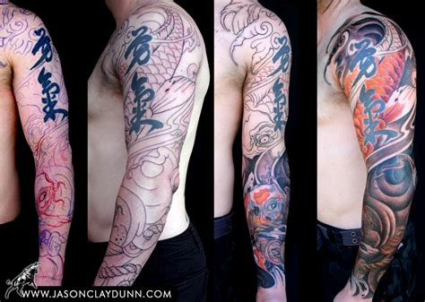 australian tattoo sleeve designs australian koi sleeve by jason dunn jason clay dunn