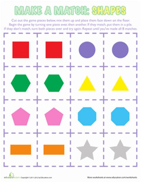 shapes matching game | worksheet | education.com