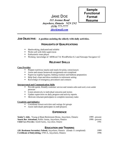 Sle Resume Of Caregiver In Canada Caregiver Sle Resume 28 Images Caregiver Description For Resume Sales Caregiver Resume