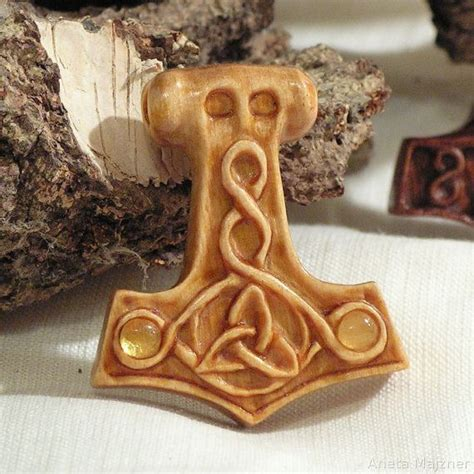 thors hammer norse jewelry viking wooden pendant by