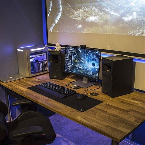 pc gaming desk reddit i ve always wanted a projection screen