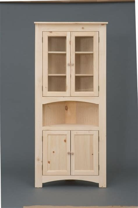 Corner Cabinet Glass Doors Pine Four Door Corner Cabinet W Glass Doors Serving Area Lower Wood Doors Unfinished