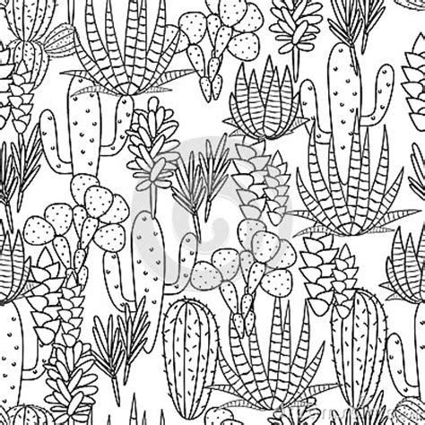 desert background coloring page succulents plant vector seamless pattern stock vector