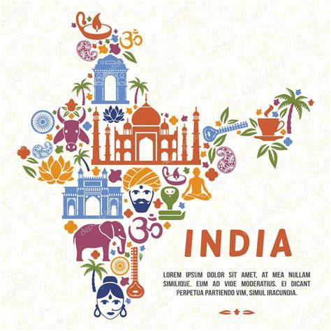 doodle board india традиционные индийские символы в виде карта индии